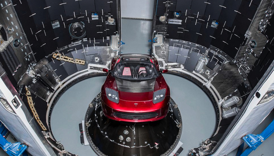 Marketingstunt Musk met Tesla-raket